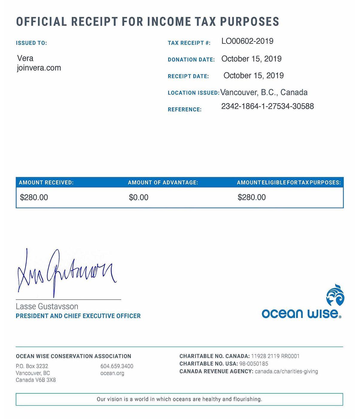 ocean wise receipt