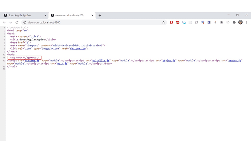 The source code of the rendered page is pretty empty.