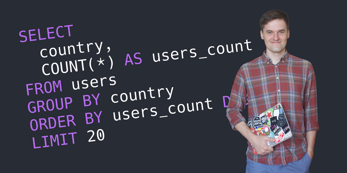 Anatoli Makaravech, a data expert, standing against a background with SQL queries written on it