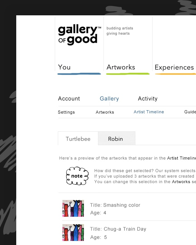 Galleryofgood UI design