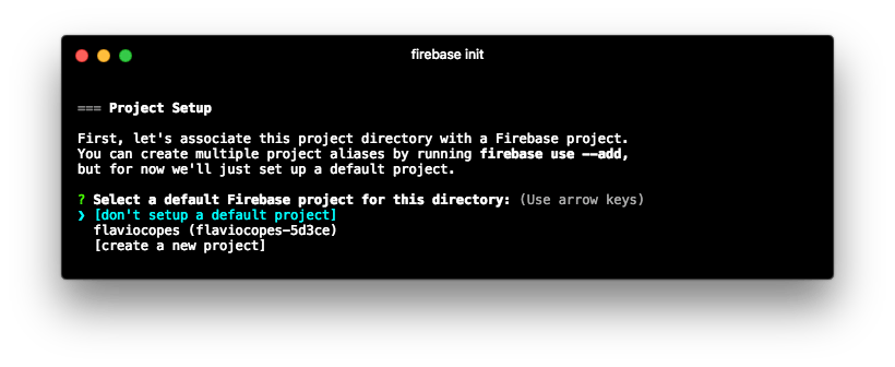 Choose firebase project