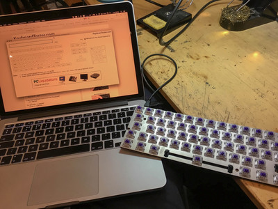 The keyboard hooked up to my laptop to test the switches.