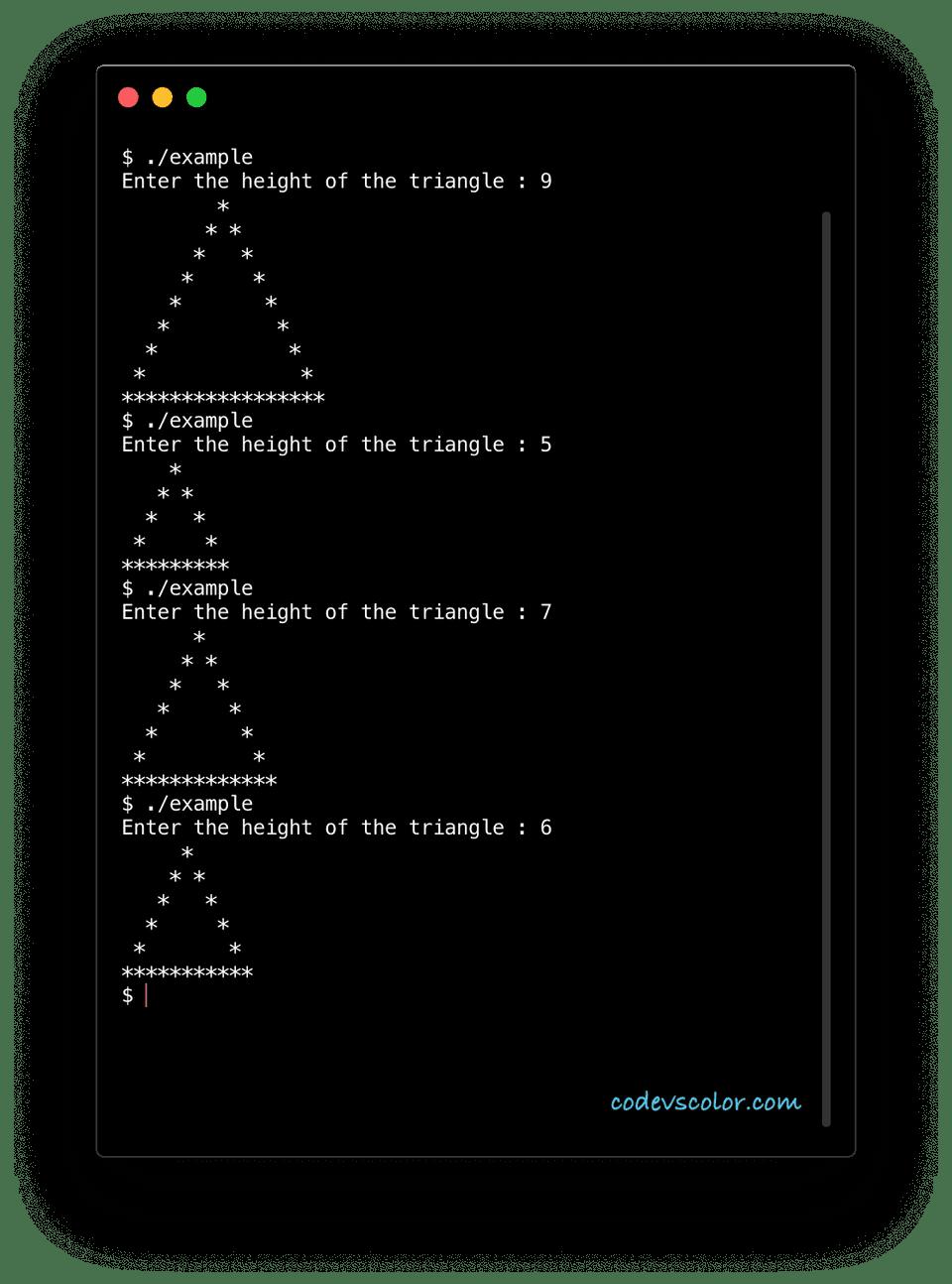 c plus plus print triangle example