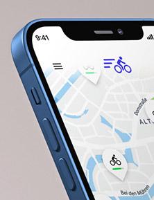 Telefon mit geöffneter Wunder-App, die für das Unternehmen emmy maßgeschneidert wurde.