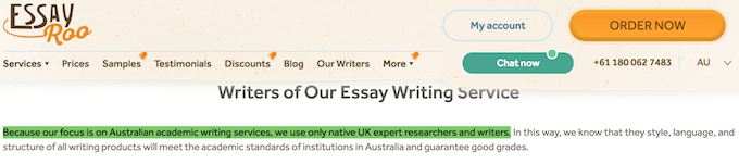 EssayRoo.com false claim: Because our focus is on Australian academic writing services, we use only native UK expert researchers and writers.