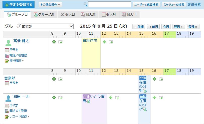 グループ日表示画面のイメージ