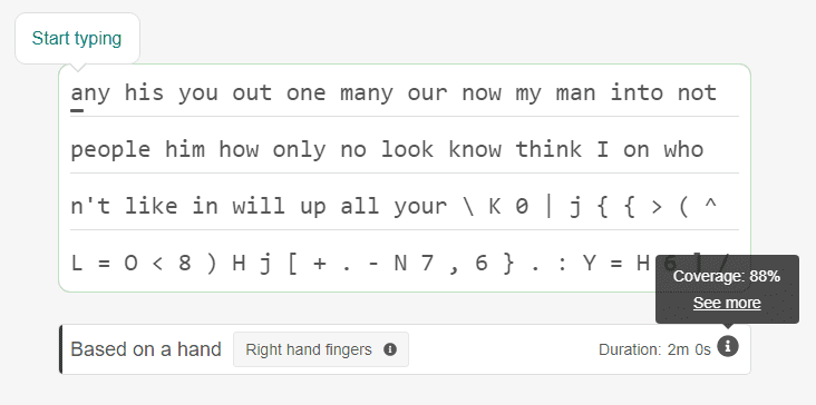 Right hand typing exercises