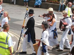 mock mayor penzance leads the mazey parade