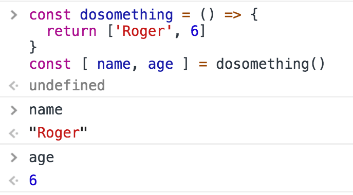 Destructuring using arrays