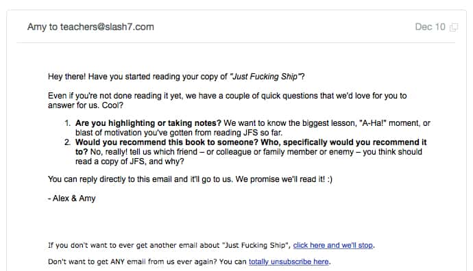 JFS automated follow up email