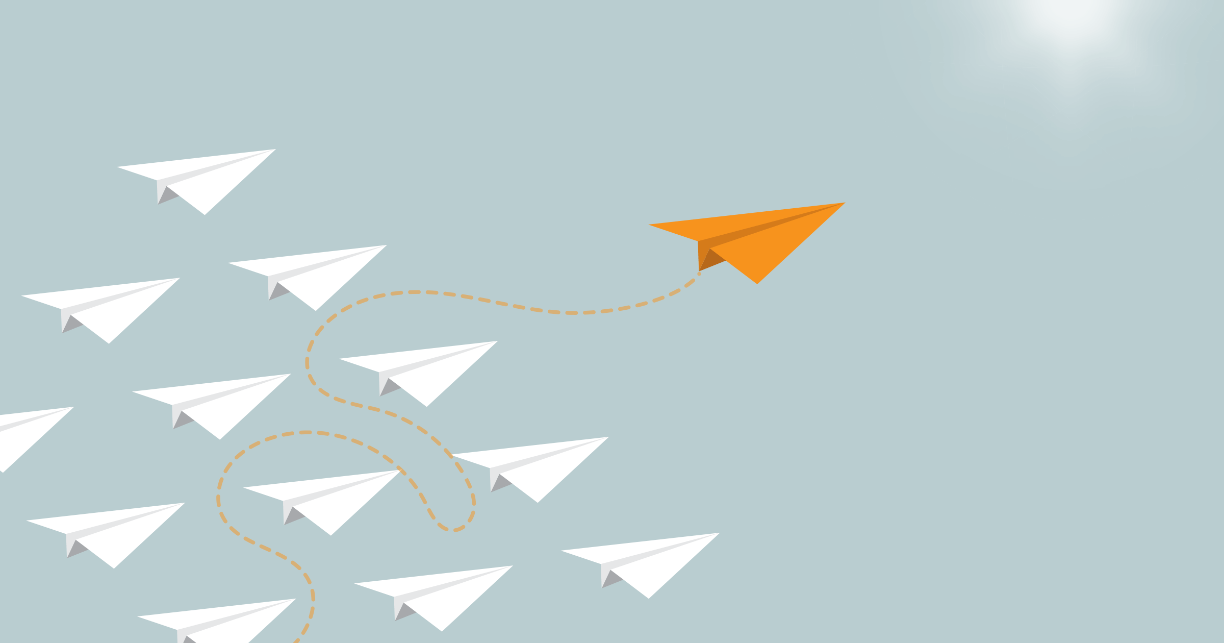 An orange paper airplane weaving its way through, and coming out ahead of, a group of white paper airplanes, against a blue background.