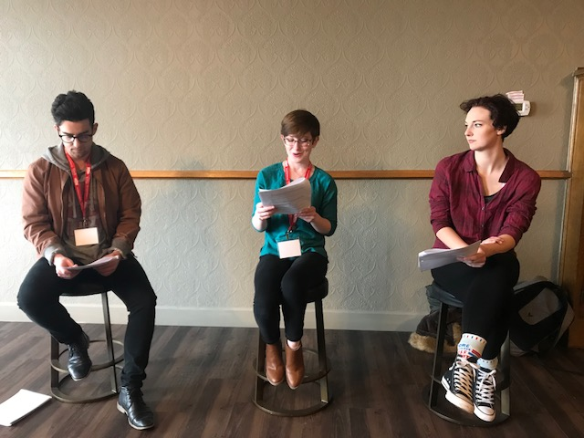 Rehearsal for MY BODY, from left to right: Micah Smith, Corinne Landy, and Chelsea Sheppard.