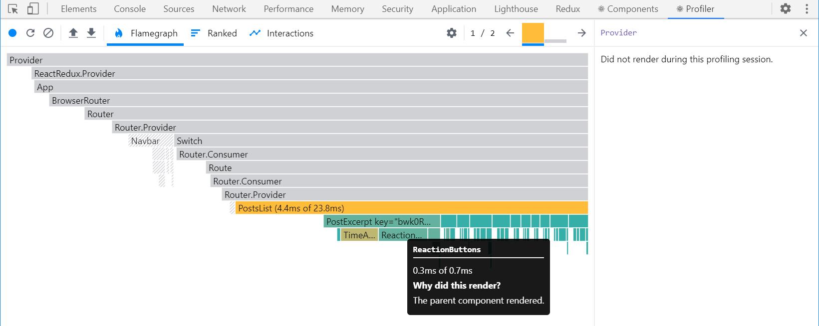 React DevTools Profiler render capture - <PostsList>