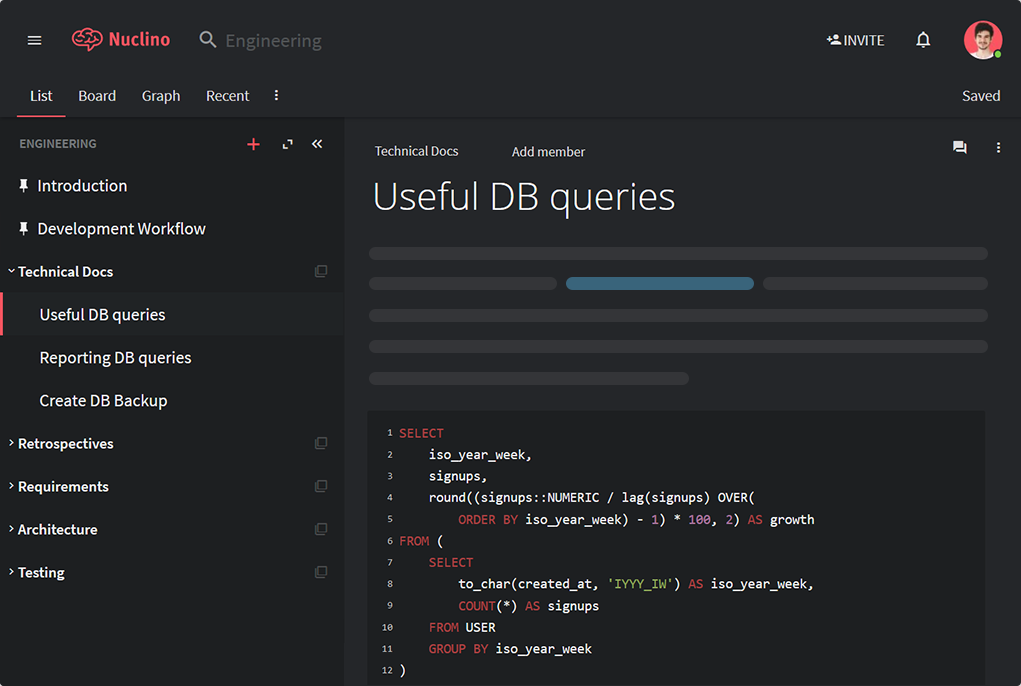 Screenshot of Nuclino for developers