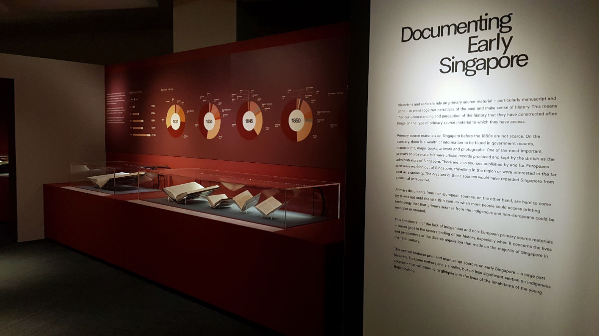 Photo of the Documenting Early Singapore section. Various Straits Settlement records are in the showcases. On the wall, there is an info-graphic breakdown of population ethnicity, that was recorded by the British in early Singapore.