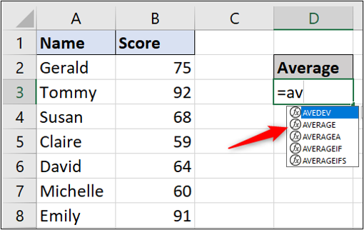 """A simple Excel spreadsheet containing data for student names and test scores. The user has typed """"equals"""" and then """"av"""" into a cell, and a dropdown has appeared with various average functions."""