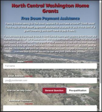 Screenshot of the NCW Home Grants website and form at screen width approx 800px