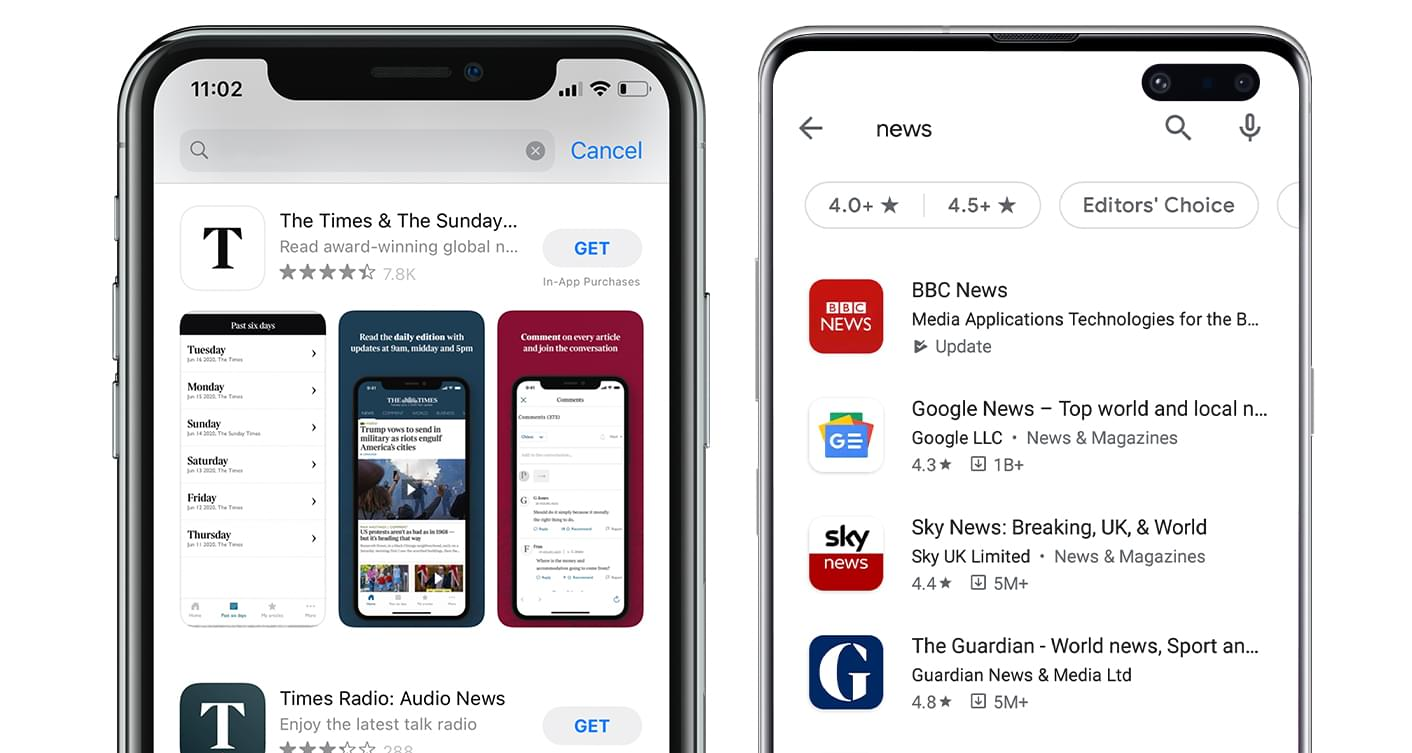 Screenshot examples. App Store vs Google Play Store