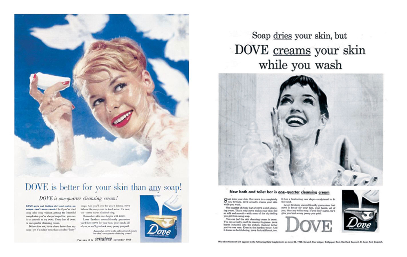 Dove advertisements from 1958 (left) and 1960(right)