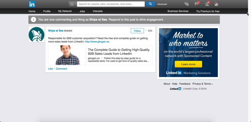 Preview of a LinkedIn Sponsored Content ad.