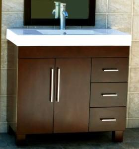 Bathroom Vanity Cabinet Ceramic Top Sink Faucet CM1