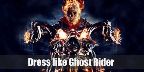The Ghost Rider head is a skull on fire. He wears all black and he rides a mean-looking motorbike.