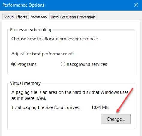 Change Virtual Memory Windows