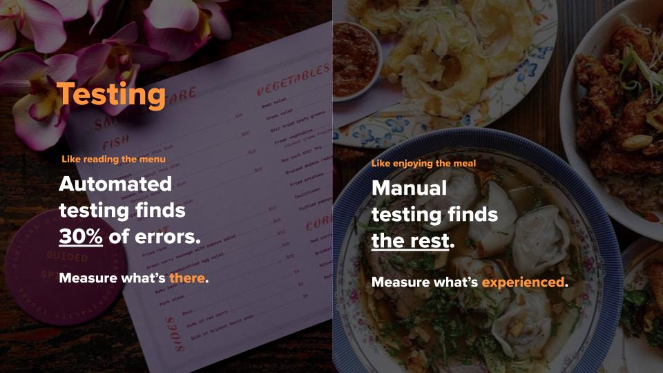 Two images with text: Left: Automated testing finds 30%. Right: Manual Testing finds the rest.