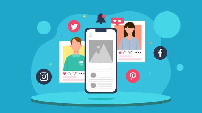 Illustration of social media interaction