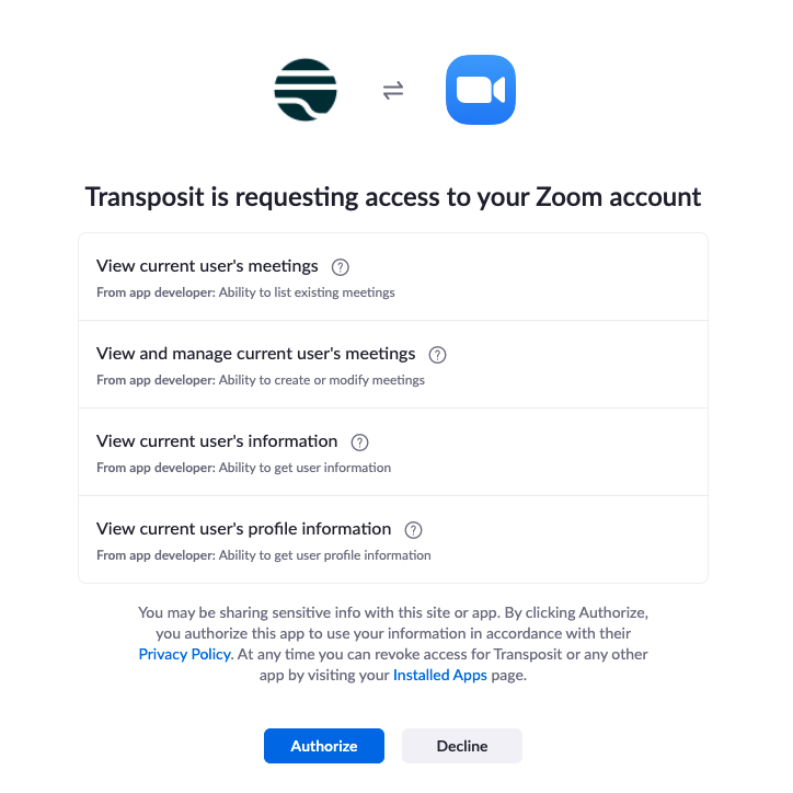 Zoom Auth page: Transposit is requesting access to your Zoom account. Permission to view current user's meetings, view and manage current user's meetings, view current user's information, and view current user's profile information. Buttons: Authorize, Decline