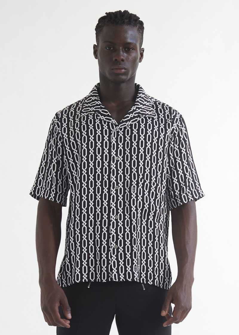 Ferah  bowling Shirt with chain print front