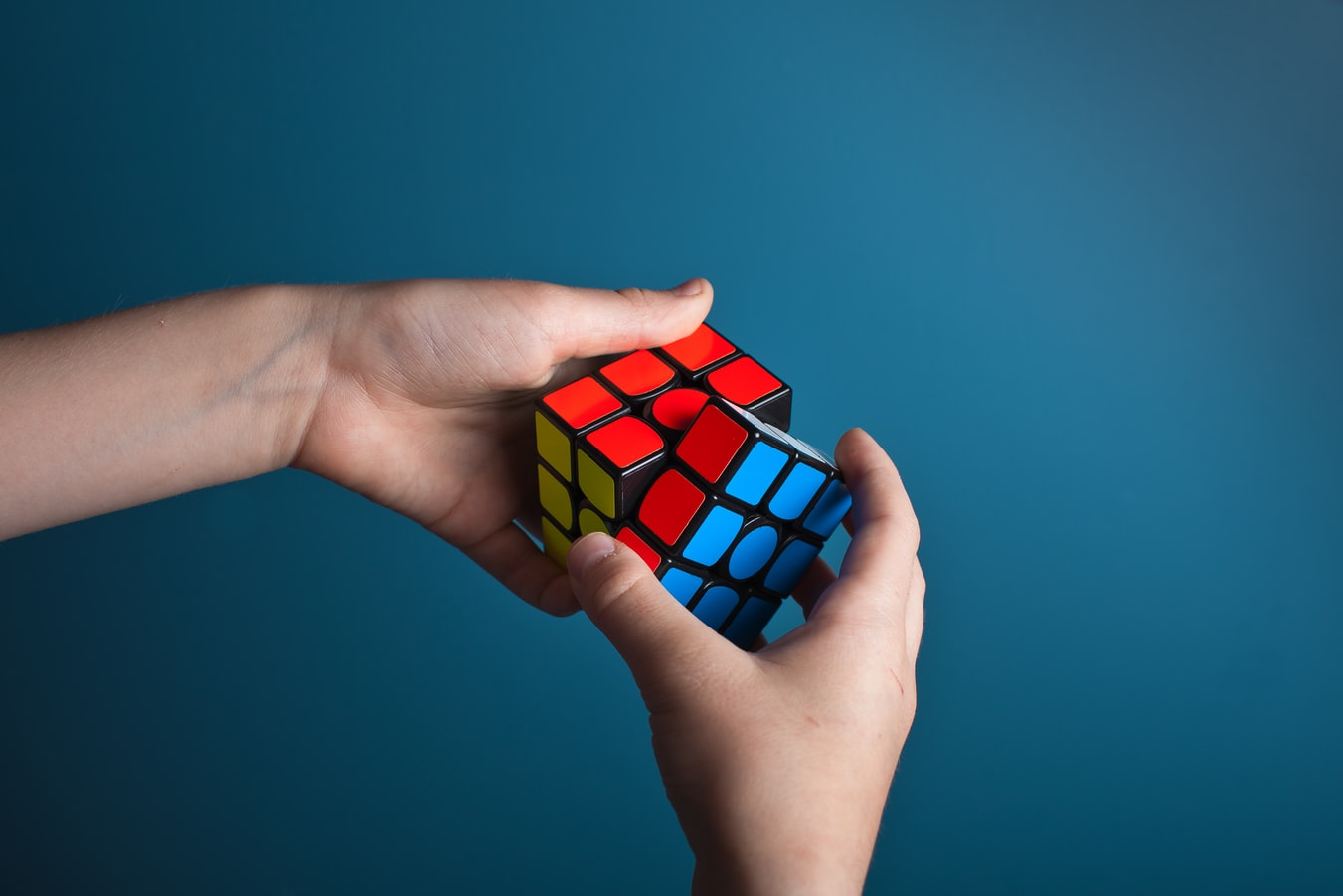 a rubiks cube being solved