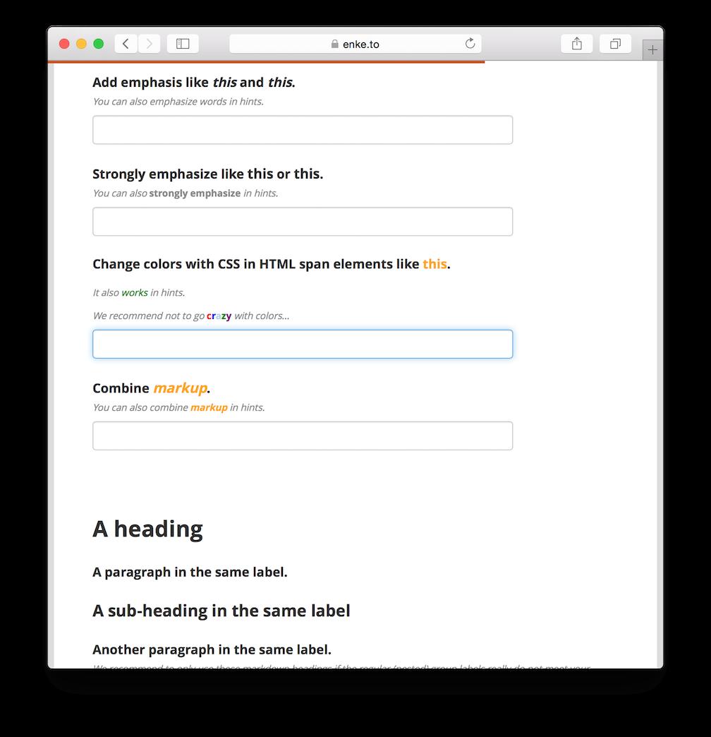 Screenshot of markdown demo form