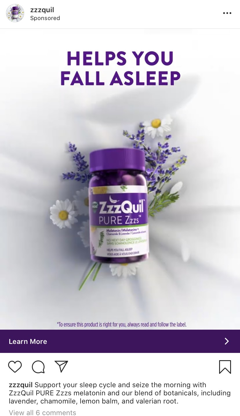 Sponsored Display Ads from Zzzquil targeting people on Instagram.