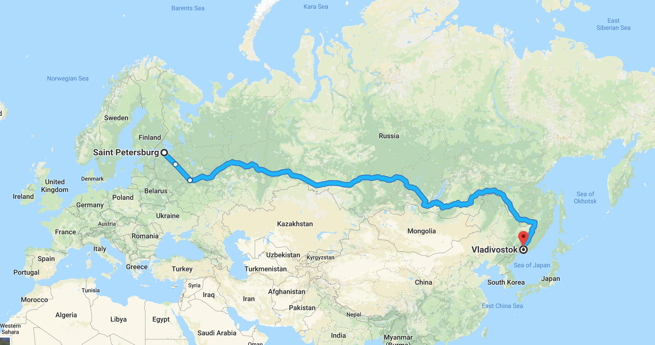 The route of my trip along the Trans-Siberian Railroad, from St Petersburg to Vladivostok.