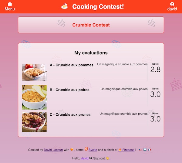 Cooking-contest my evaluations screen