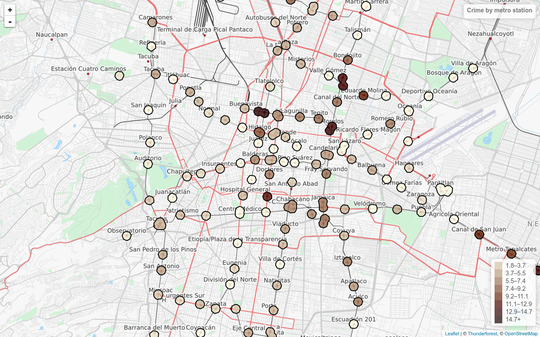 Interactive crime map by metro station