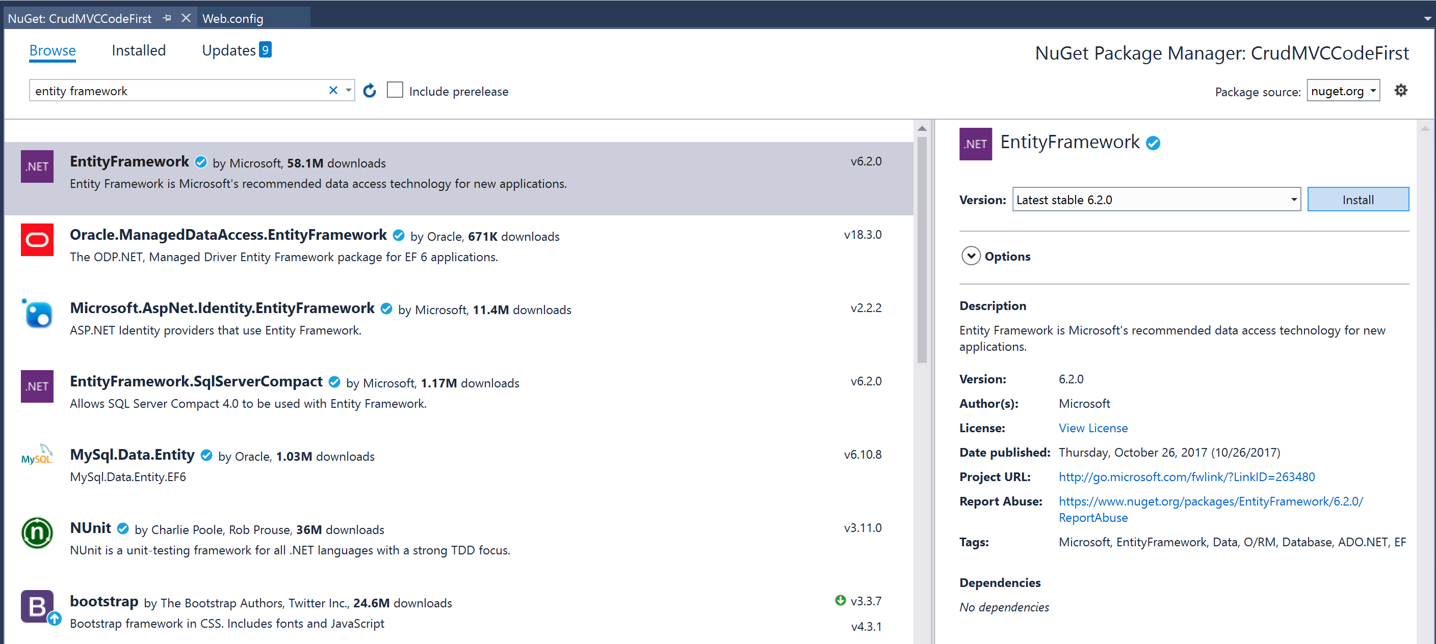 Visual Studio NuGet Entity Framework