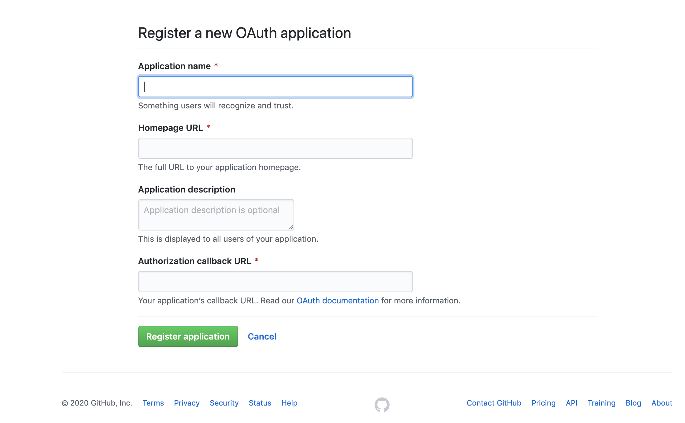 GitHub OAuth2 Application creation