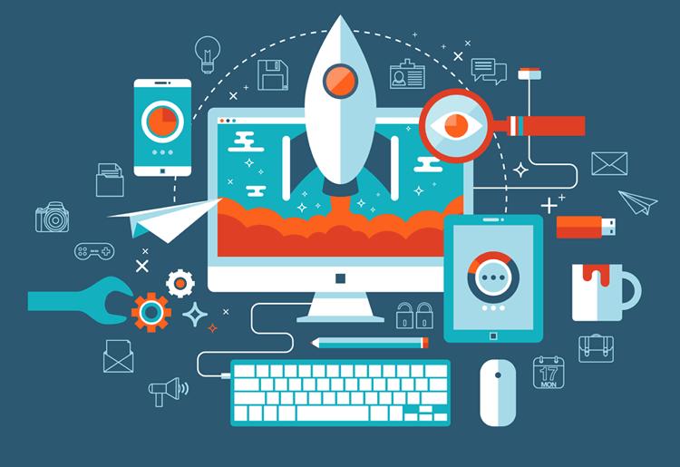 Imagem mostra um computador de fundo com um foguete decolando, também tem alguns símbolos usados pelo marketing digital, como celulares e tablets e gráficos.