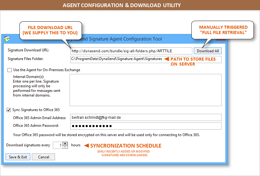 email signatures recently modified download parameter