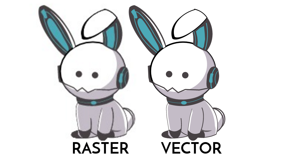 Blurred Raster Graphic Compared to Vector Graphic