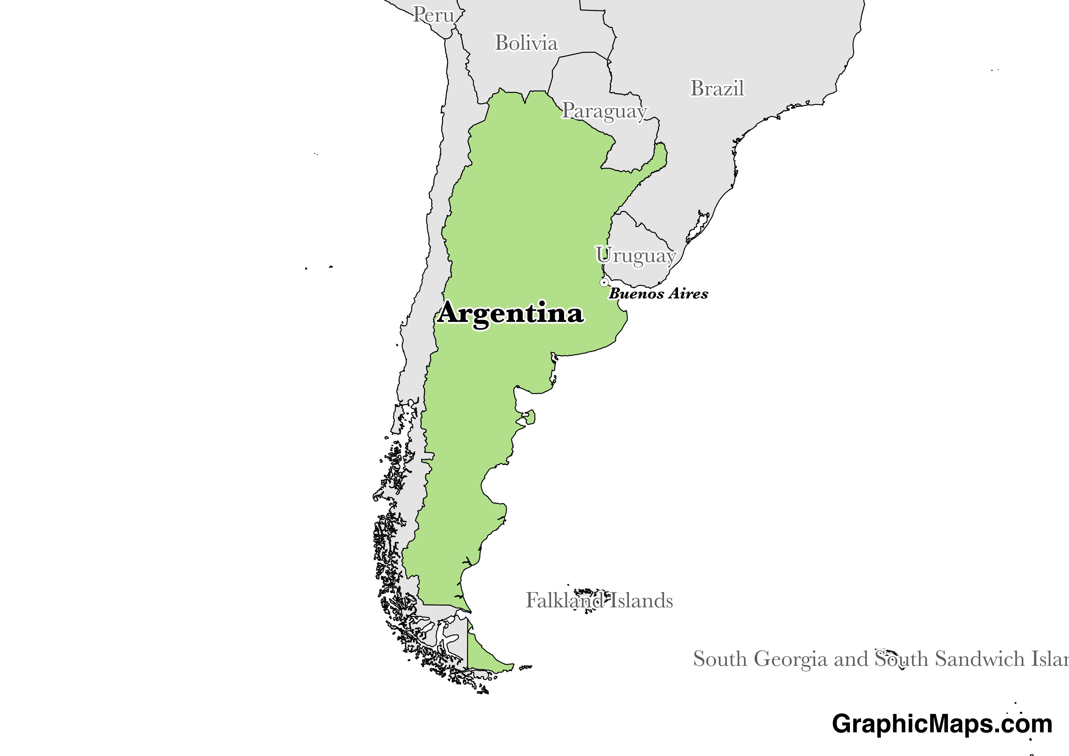 Map showing the location of Argentina