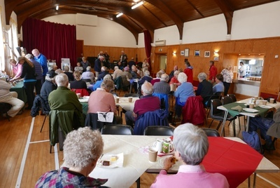 Cruise ship passengers being entertained at Fetlar hall
