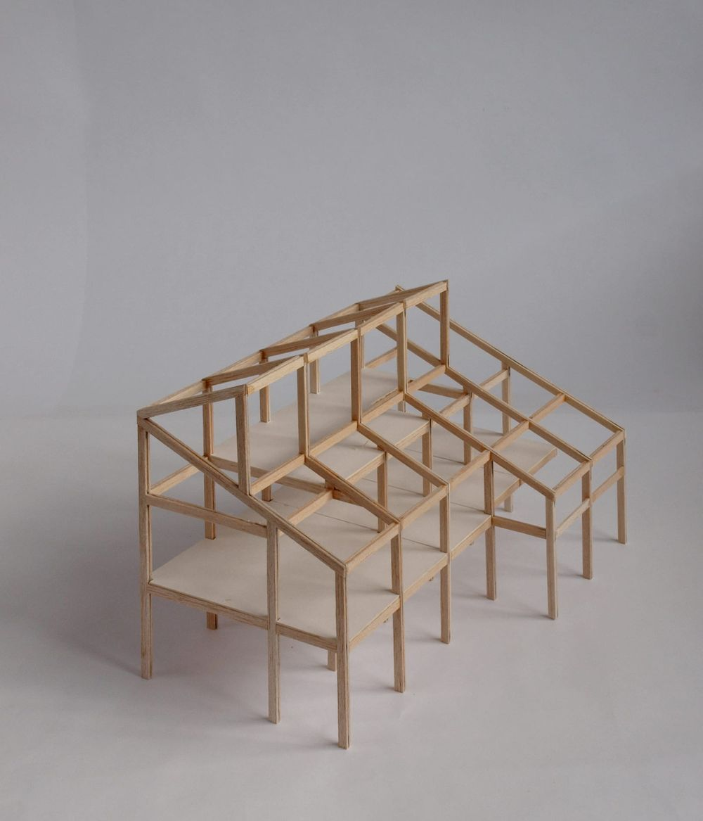 Scale structural model of the proposed office and workspace on Claylands Avenue designed by From Works.