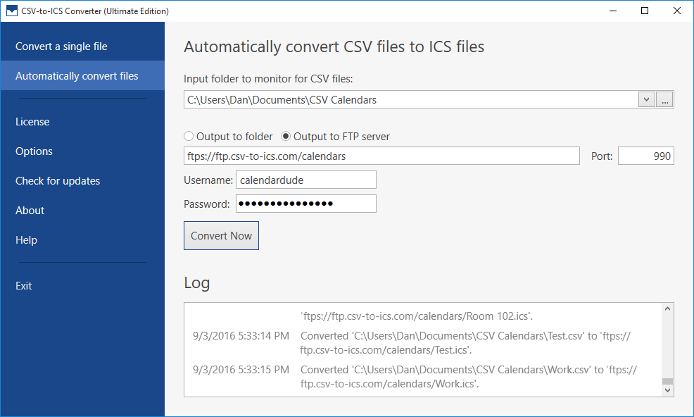An FTP server can be specified. Whenever a CSV file is automatically converted into an ICS file, the generated ICS file will be uploaded to the specified FTP server.