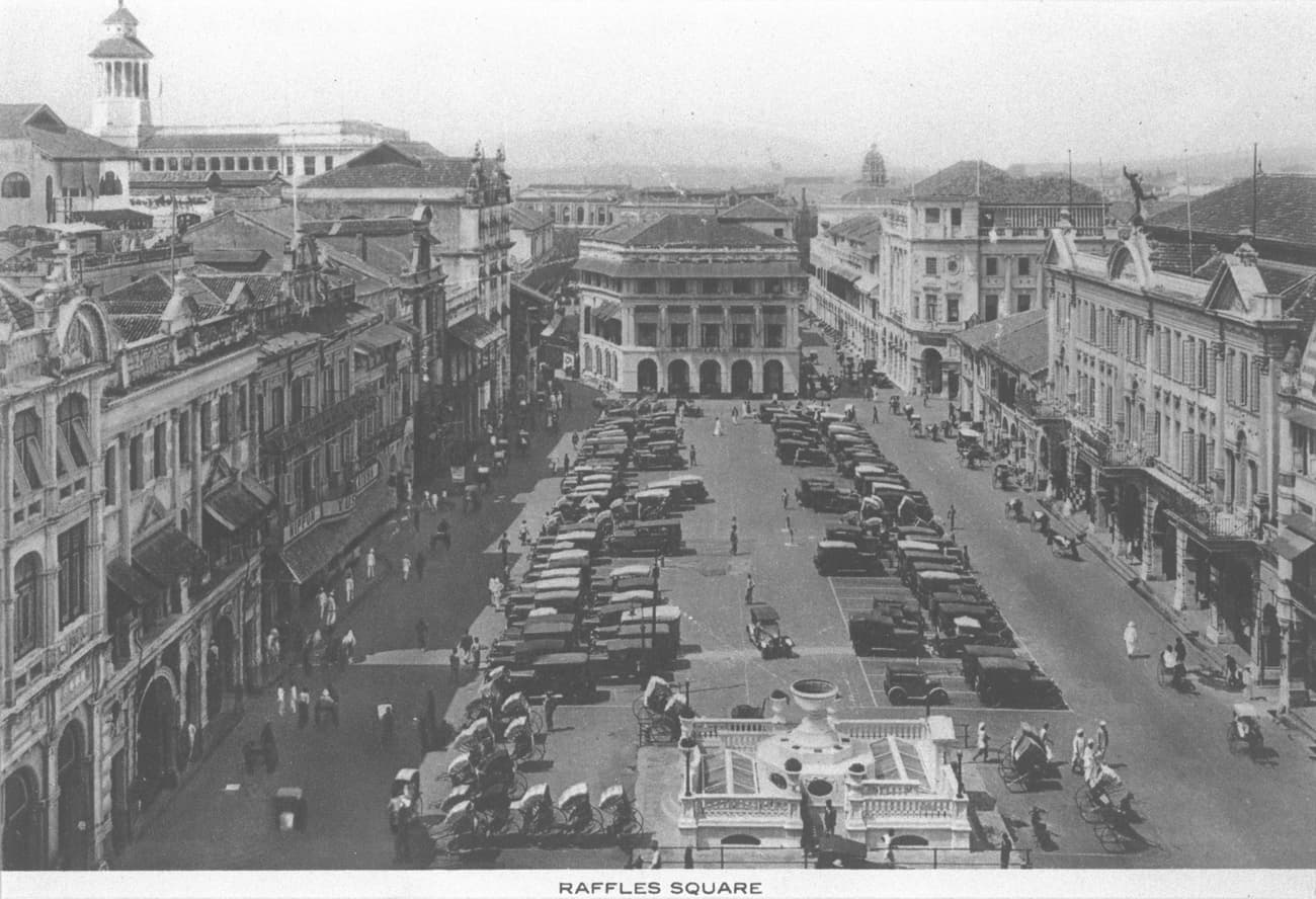 Raffles Place seen from Chartered Bank, 1920s
