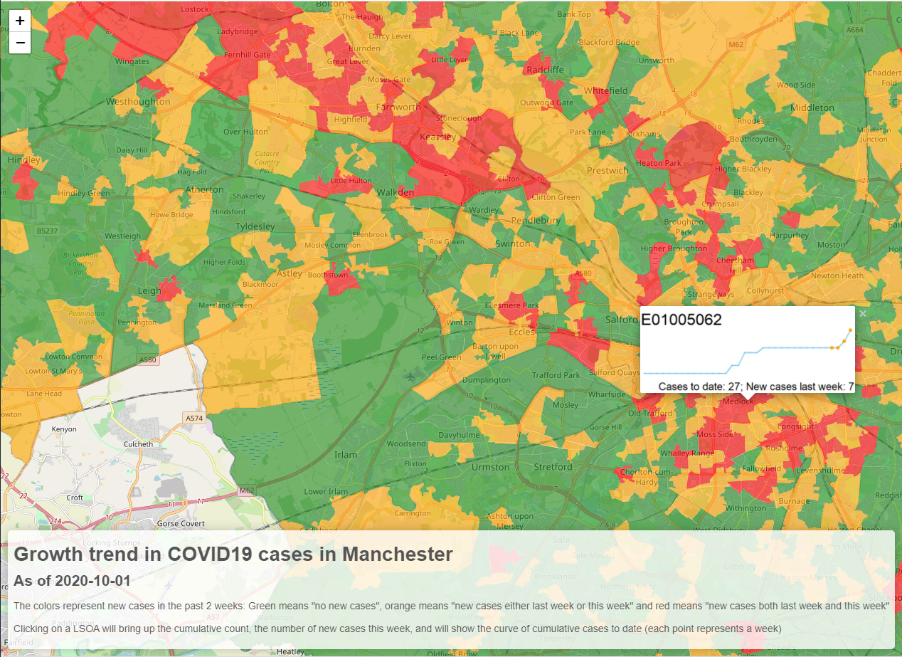 Manchester COVID map
