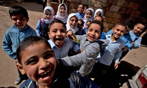 Egyptian pupils play at a school near Cairo Photograph: Hong Wu/Getty Images