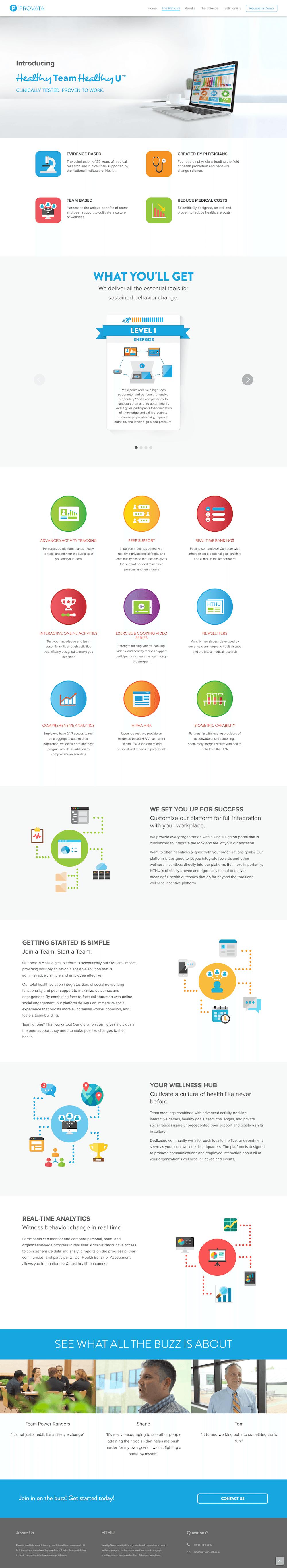 Screenshot of the Provata Health marketing web site Platform page